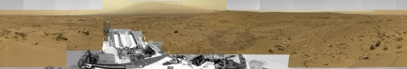 "Billion-Pixel View From Curiosity at Rocknest, Raw Color.  This full-circle, reduced view combined nearly 900 images taken by NASA's Curiosity Mars rover, generating a panorama with 1.3 billion pixels in the full-resolution version. The view is centered toward the south, with north at both ends. It shows Curiosity at the ""Rocknest"" site where the rover scooped up samples of windblown dust and sand. Curios"