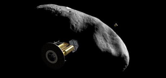 Artist concept of the ARKYD spacecraft by an asteroid. Credit: Planetary Resources.
