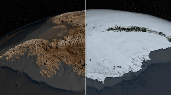 New topography map of Antarctica by the British Antarctic Survey and NASA better reveal what lies beneath its ice. (NASA/GSFC)