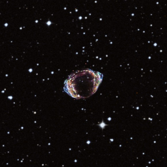 G1.9+0.3 in an image by the Chandra X-ray Observatory. Credit: X-ray (NASA/CXC/NCSU/K.Borkowski et al.); Optical (DSS)