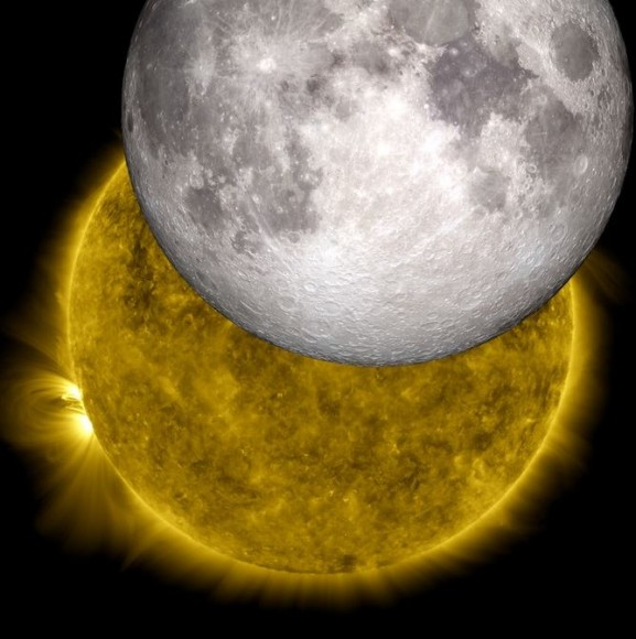 This is an image of a unique eclipse as viewed by NASA's Solar Dynamics Observatory, with a model of the moon from NASA's Lunar Reconnaissance Orbiter replacing the lunar shadow. Credit: NASA/SDO/LRO/GSFC