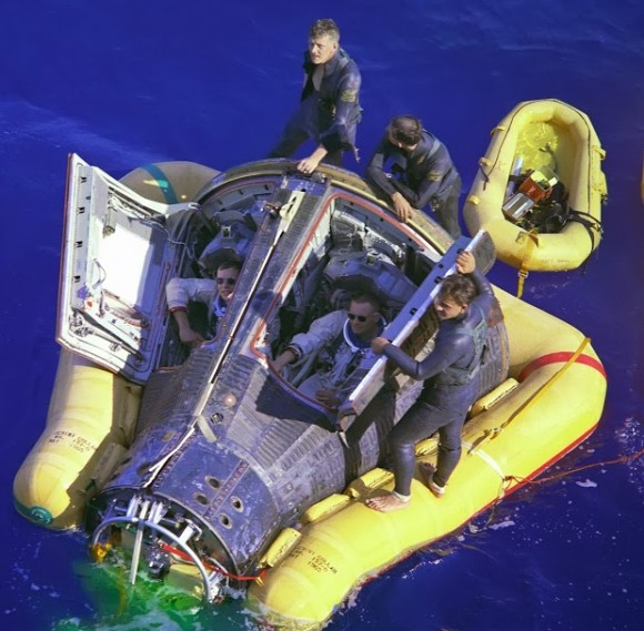 Neil Armstrong and David Scott in the Gemini VIII capsule, after splashdown, March 16, 1966.  Credit: NASA.