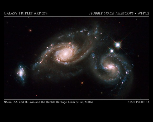 Arp 274 is a trio of galaxies. They appear