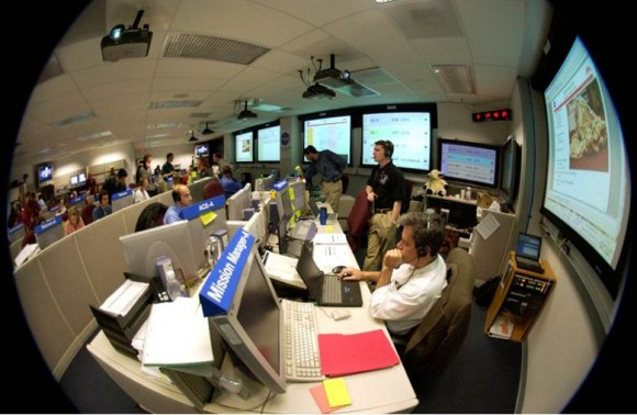A view of the Flight Control room at the Jet Propulsion Laboratory during the landing of the Spirit Mars Exploration Rover, Spirit, with Chris in the  Flight Director hotseat. Credit: NASA/JPL.