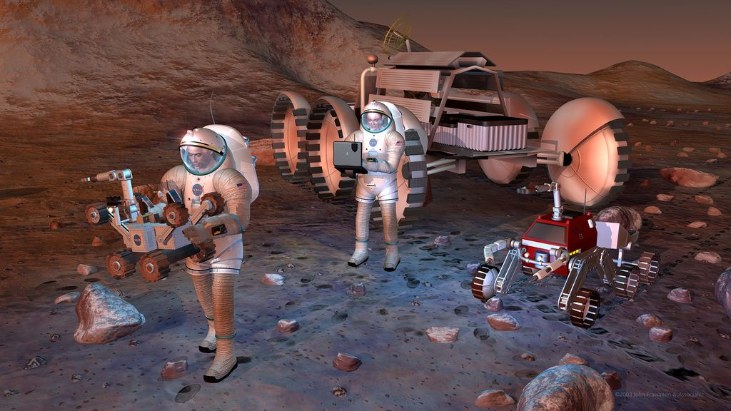 An artist's conception of future Mars astronauts. Credit: NASA/JPL-Caltech
