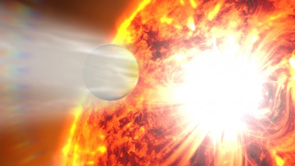 An artist's conception of an exoplanet transiting its home star. Credit: NASA's Goddard Space Flight Center