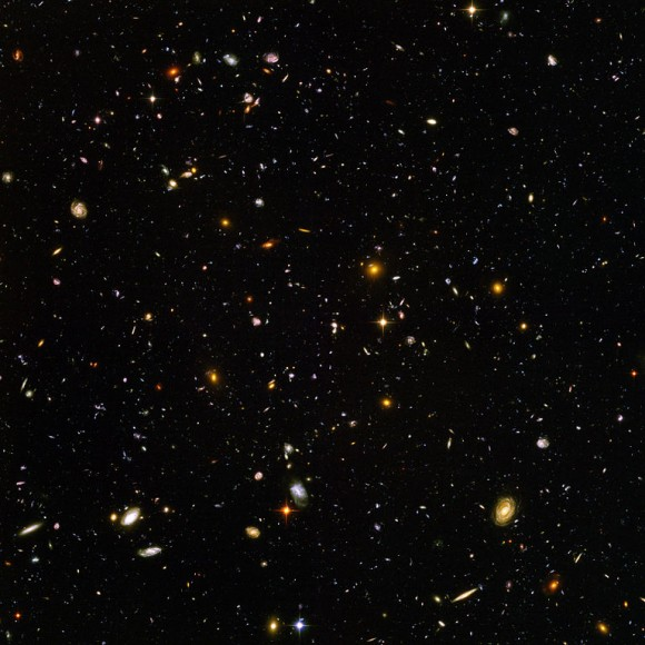 A new study of distant galaxies like those shown in this image from the Hubble Space Telescope, uses the new 'stacking' technique to gather information only available through radio telescope observations. Credit: NASA, STScI, and ESA.