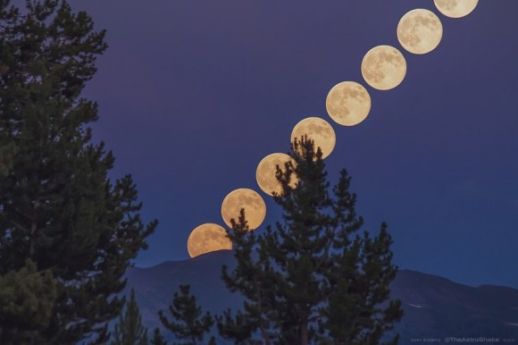 A series of photos combined to show the rise of the July 22, 2013 'super' full moon over the Rocky Mo