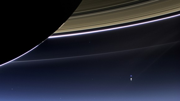 The Day the Earth Smiled: Sneak Preview In this rare image taken on July 19, 2013, the wide-angle camera on NASA's Cassini spacecraft has captured Saturn's rings and our planet Earth and its moon in the same frame. Image Credit: NASA/JPL-Caltech/Space Science Institute