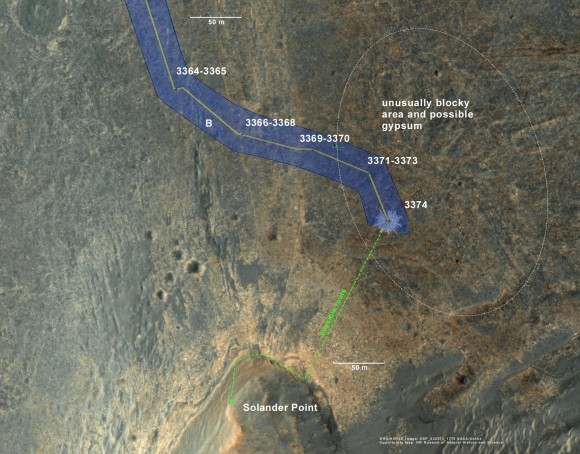 Opportunity rover location in the latest MRO/HiRISE color image. The green line shows more or less the route we hope to take to the base of Solander point. Since it is only a couple of hundred meters away, we could be there is a couple of drives. May
