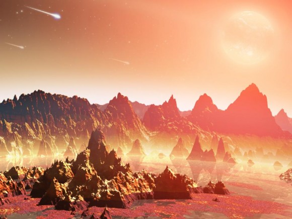 Hard times in harsh climes-an artist's conception of the daytime side of a world orbiting a red dwarf star.