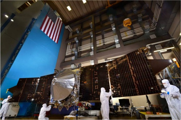 The solar panels on the MAVEN spacecraft are deployed as part of environmental testing procedures at Lockheed Martin Space Systems in Littleton, Colorado, before shipment to Florida 0on Aug. 2 and blastoff for Mars on Nov. 18, 213. Credit: Lockheed Martin