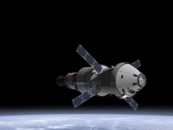 NASA Orion spacecraft blasts off atop 1st  Space Launch System rocket in 2017 - attached to European provided service module – on an enhanced m mission to Deep Space where an asteroid could be relocated as early as 2021.   Credit: NASA