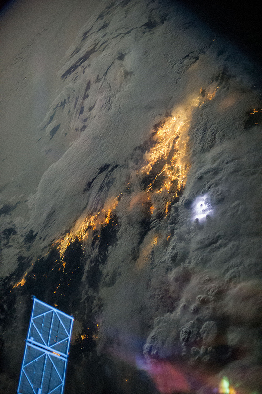 Early morning lightning storms, inland of LA and San Diego, on July 21, 2013, as seen from the International Space Station. Credit: NASA