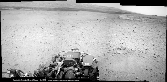 Curiosity On the Road to Mount Sharp and treacherous Sand Dunes - Sol 338 - July 19.  Curiosity captured this panoramic view of the path ahead to the base of Mount Sharp and potentially dangerous sand dunes after her most recent drive on July 19, 2013. She must safely cross over the dark dune field to climb and reach the lower sedimentary layers of Mount Shar