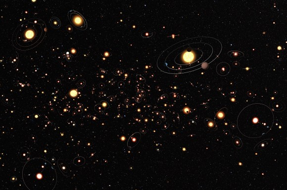 An artist's conception of how common exoplanets are throughout the Milky Way Galaxy. Image Credit: Wikipedia