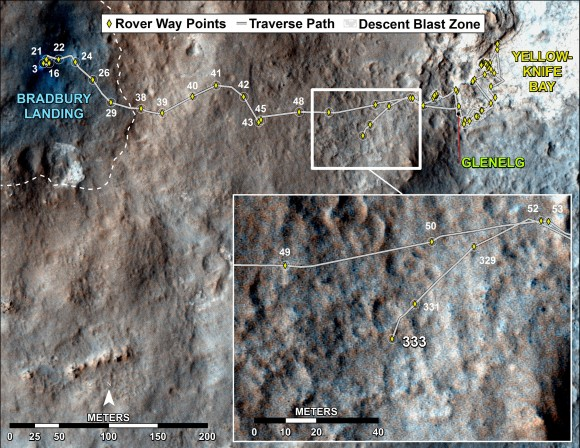 Curiosity's Traverse Map Through Sol 333 - This map shows the route driven by NASA's Mars rover Curiosity through Sol 333 of the rover's mission on Mars (July 14, 2013).  Numbering of the dots along the line indicate the sol number of each drive. North is up. The scale bar is 200 meters (656 feet). From Sol 331 to Sol 333, Curiosity had driven a straight line distance of about 45.05 feet (13.73 meters).  The base image from the map is from the High Resolution Imaging Science Experiment Camera (HiRISE) in NASA's Mars Reconnaissance Orbiter. Credit: NASA/JPL-Caltech/Univ. of Arizona
