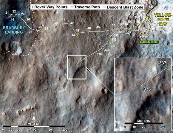 Curiosity's Traverse Map Through Sol 338 This map shows the route driven by NASA's Mars rover Curiosity through Sol 338 of the rover's mission on Mars (July 19, 2013).  Numbering of the dots along the line indicate the sol number of each drive. North is up. The scale bar is 200 meters (656 feet). From Sol 337 to Sol 338, Curiosity had driven a straight li