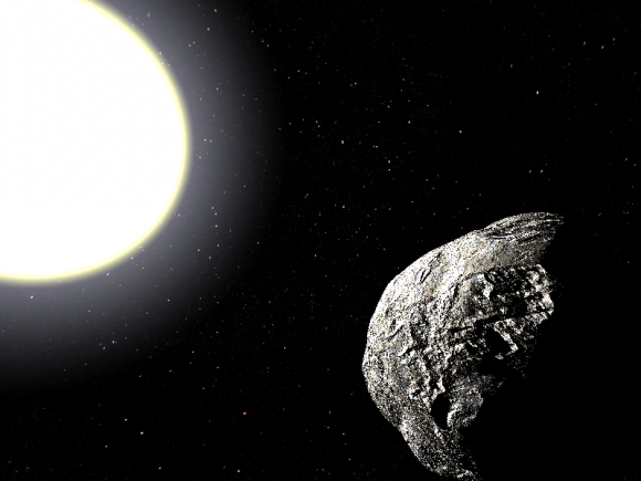 A hypothetical Vulcanoid asteroid in orbit about the Sun. ( Artist's impression in the Public Domain).