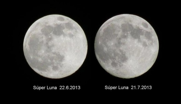 Last month's supermoon vs. this months... can  you see a difference? (Credit José Mauricio Rozada @jmrozada based in Venezulua).