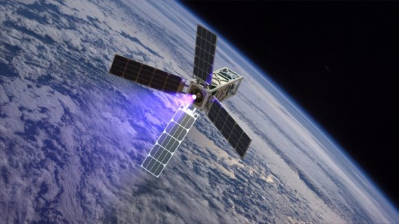 Artist concept of a 5 kg CubeSat with CubeSat Ambipolar Thruster (CAT) firing in low Earth orbit. Via Kickstarter.
