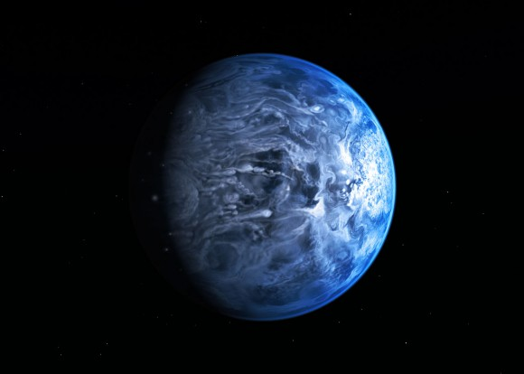 Artist's impression of the deep blue planet HD 189733b. Credit: NASA/ESA.