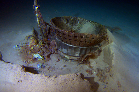Saturn V Moon Rocket F-1 Engine Thrust Chamber recovered from the floor of the Atlantic Ocean. Credit: Jeff Bezos Expeditions