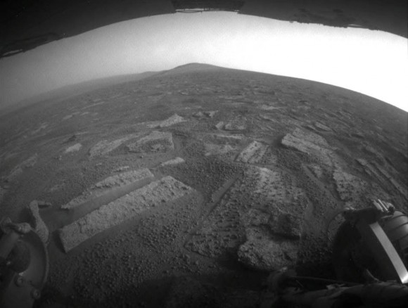 """This view from July 2, 2013 (Sol 3355) shows the terrain that NASA's Mars Exploration Rover Opportunity is crossing  in a flat area called """"Botany Bay"""" on the way toward """"Solander Point,"""""""
