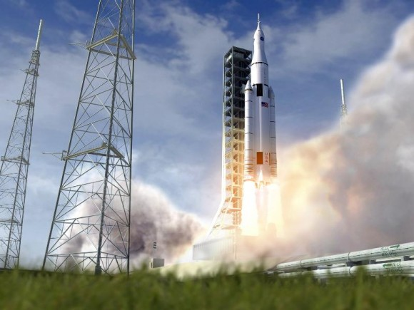 Artist's conception of NASA's Space Launch System. Credit: NASA