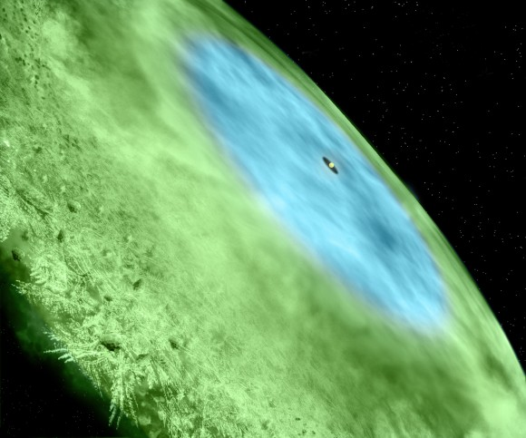 Artist's conception of the snow line in TW Hydrae. Credit: Bill Saxton/Alexandra Angelich, NRAO/AUI/NSF