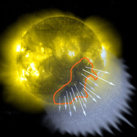 Coronal holes are regions in the sun's atmosphere or corona where solar plasma can stream directly into space. Often a hole will a couple rotations, inciting repeat auroras approximately every 4 weeks. Credit: NASA