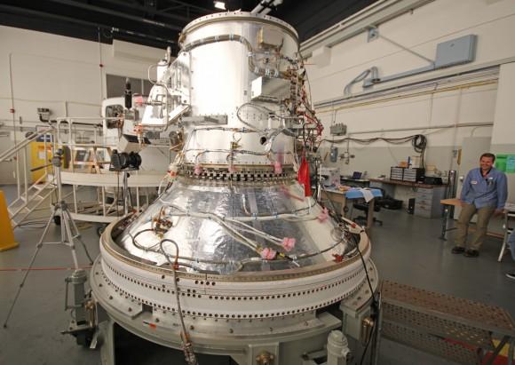 Close-up view of STAR 37FM 5th stage solid fuel motor of Minotaur V rocket at NASA Wallops rocket facility will propel LADEE into its lunar transfer orbit. Credit: Ken Kremer/kenkremer.com