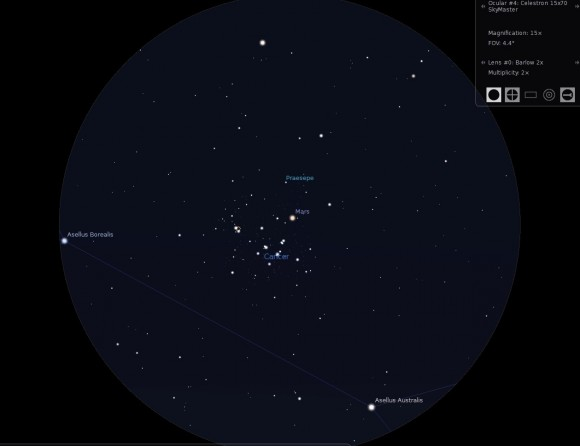 Mars on September 8th. (Created by the author using Stellarium).