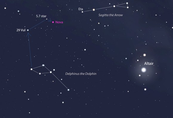 This map shows Delphinus and Sagitta, both of which are near the bright star Altair at the bottom of the Summer Triangle. You can star hop from the Delphinus