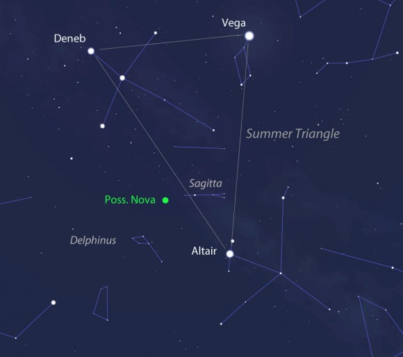The new possible nova is located in Delphinus alongside the familiar Summer Triangle outlined by Deneb, Vega and Altair. This may shows the sky looking high in the south for mid-northern latitudes around 10 p.m. local time in mid-August. The new object is ideally placed for viewing. Stellarium
