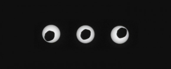 Phobos transiting the Sun as seen by the Mars Curiosity rover on Sol 369. (Credit: NASA/JPL-Caltech/Malin Space Science Systems/Texas A & M University).
