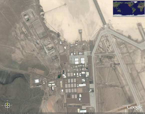 Area 51 shows up in Google Earth. Via Google Maps.