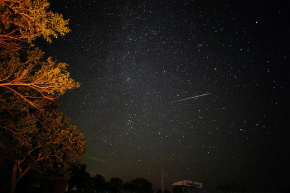 Perseids Meteor 8/11/2013 El Dorado Lake, Kansas. Credit and copyright: Tom Wright.