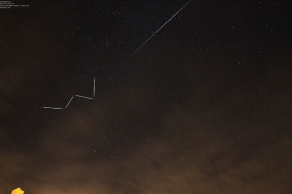 A Perseid meteor and the constellation Cassiopeia seen over Winchester, UK. Credit and copyright: Paul Williamson.