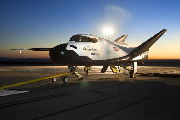 Sierra Nevada Corp.'s Dream Chaser just before tow tests at NASA's Dryden Flight Research Center on Aug. 2, 2013. Credit: NASA/Ken Ulbrich