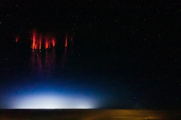 Red sprite lightning seen over Nebraska on August 12, 2013. Credit and copyright: Jason Ahrns.