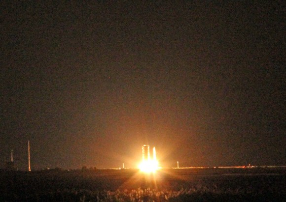 Ignition of Minotaur V rocket launching NASA's LADEE lunar orbiter on Sept. 6, at 11:27 p.m. EDT from NASA Wallops, Virginia, media viewing site 2 miles away. Credit: Ken Kremer/kenkremer.com
