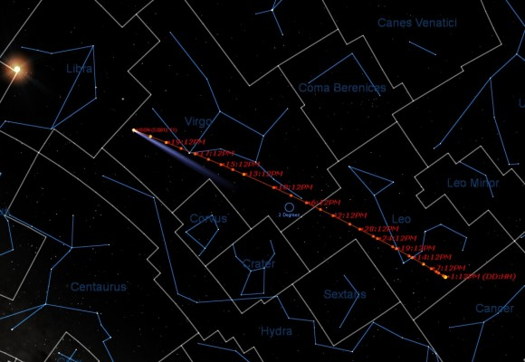 The path of Comet ISON from October 1st to November 21st. The position of the Sun is shown on the final date. (Created by the Author using Starry Night Education software).