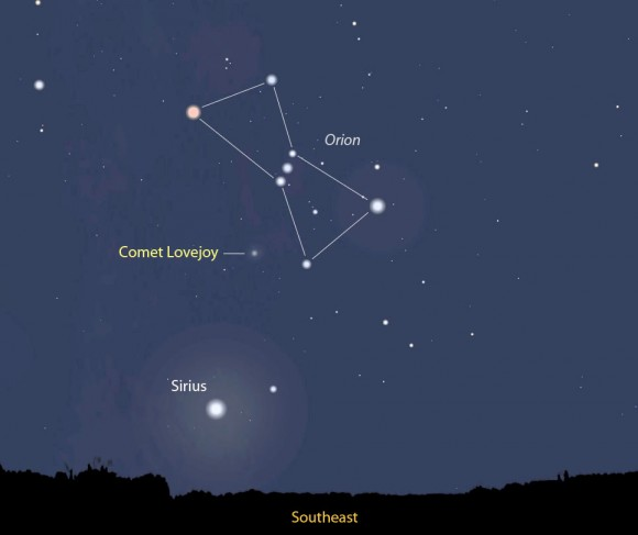 The comet is a faint 14th magnitude object just east of Orion's Belt in the dim constellation Monoceros the Unicorn. The map shows its position tomorrow morning Sept. 11 just before the  start of morning twilight. Stellarium