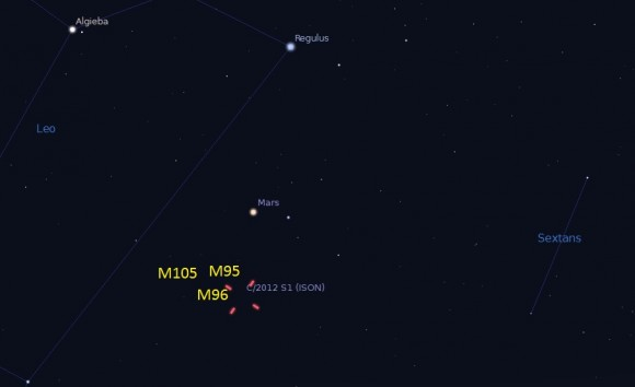 The position of Comet ISON on October 26th in Leo. (Created by the author in Stellarium).