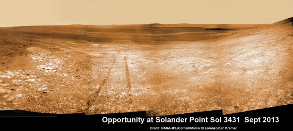 Opportunity starts scaling Solander Point - her1st mountain climbing goal. See the tilted terrain and rover tracks in this mosaic view from Solander Point peering across the vast expanse of