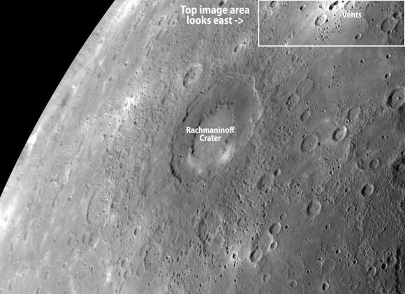 Imagen MESSENGER de Rachmaninoff cráter obtenido en septiembre de 2009