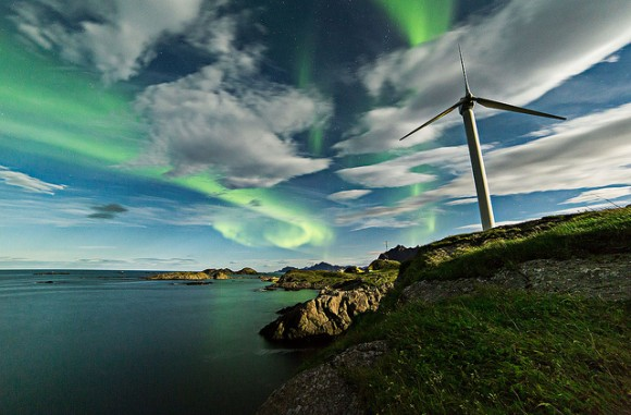 Aurorae dance across the sky and among the clouds over Norway on September 28, 2013. Credit and copyright: Frank Olsen.