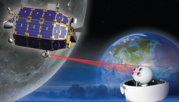 The LADEE satellite in lunar orbit.   The revolutionary modular science probe is equipped with a Lunar Laser Communication Demonstration (LLCD) that will attempt to show two-way laser communication beyond Ear