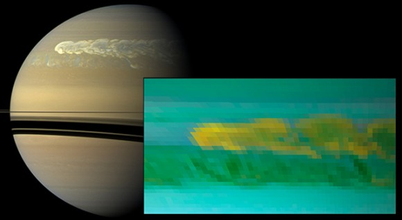 This set of images from NASA's Cassini mission shows the turbulent power of a monster Saturn storm. The visible-light image in the back, obtained on Feb. 25, 2011, by Cassini's imaging camera, shows the turbulent clouds churning across the face of Saturn. The inset infrared image, obtained a day earlier, by Cassini's visual and infrared mapping spectrometer, shows the dredging up of water and ammonia ices from deep in Saturn's atmosphere. This was the first time water ice was detected in Saturn's atmosphere. Credit: NASA/JPL-Caltech/SSI/Univ. of Arizona/Univ. of Wisconsin